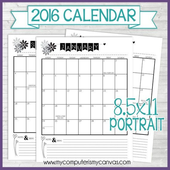 2016 Calendar Printable Calendar Seasonal Color by VLHamlinDesign