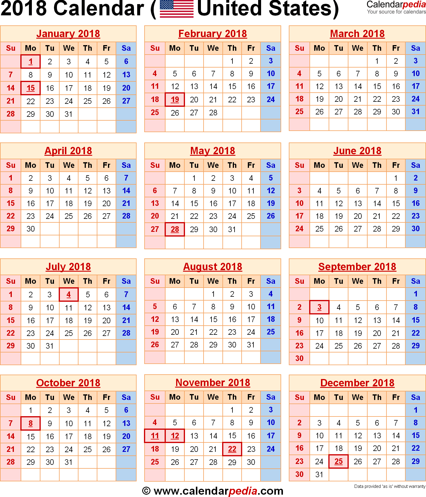 calendar template 2018 with holidays