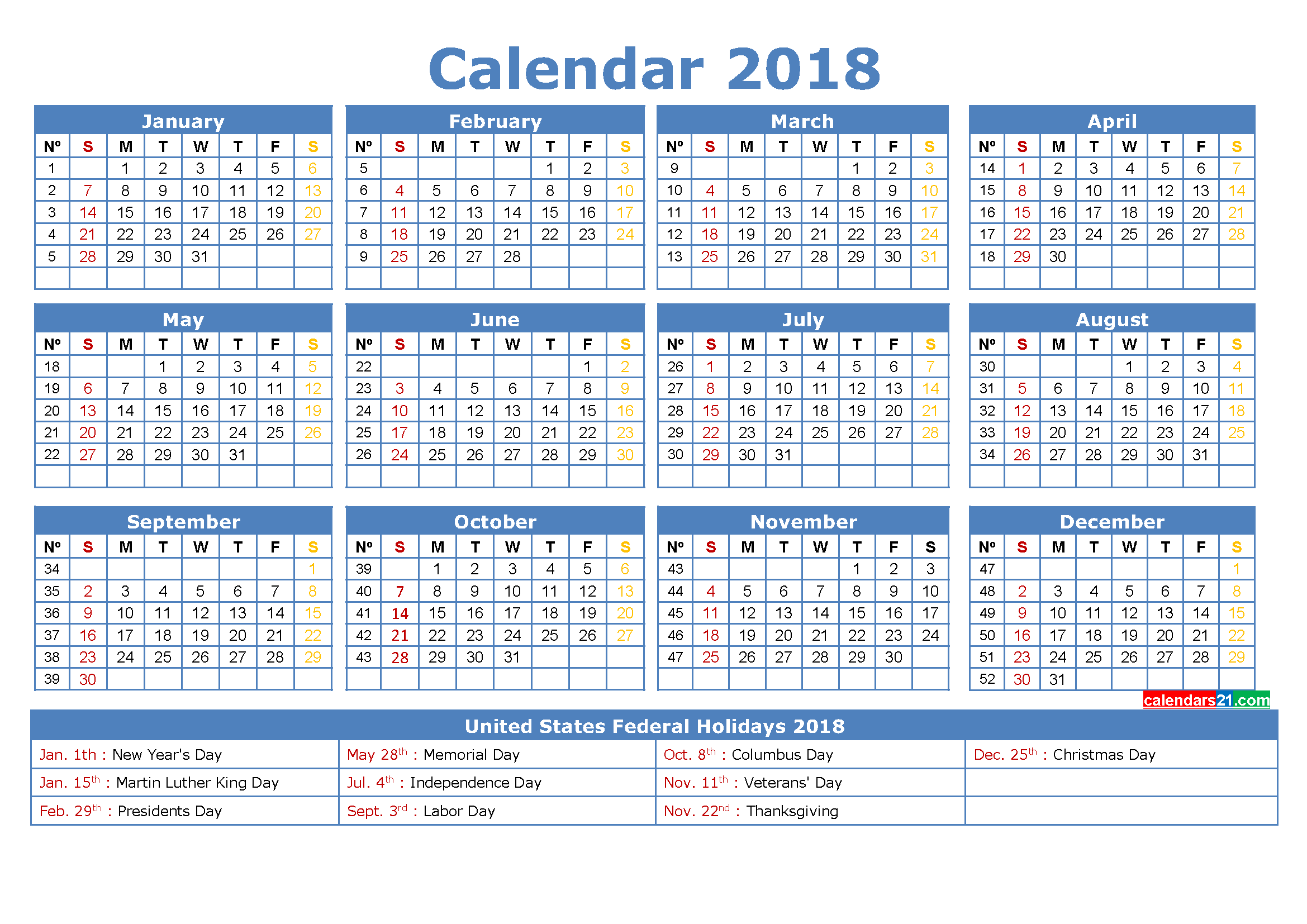 Calendar 2018 with Holidays Printable Calendar Template, Steel