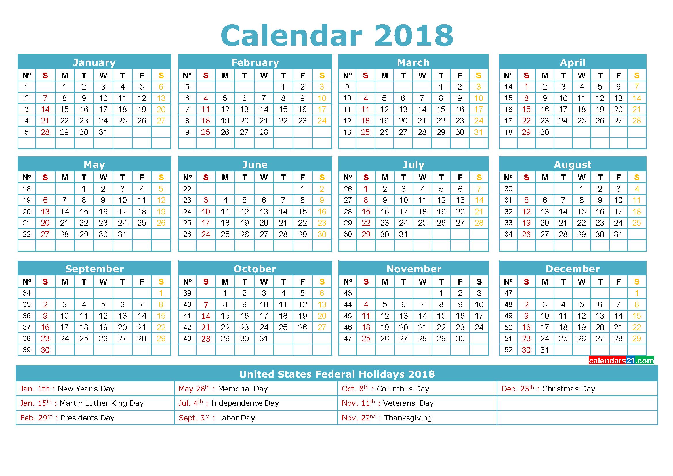Printable Calendar 2018 with Holidays Calendars 21st
