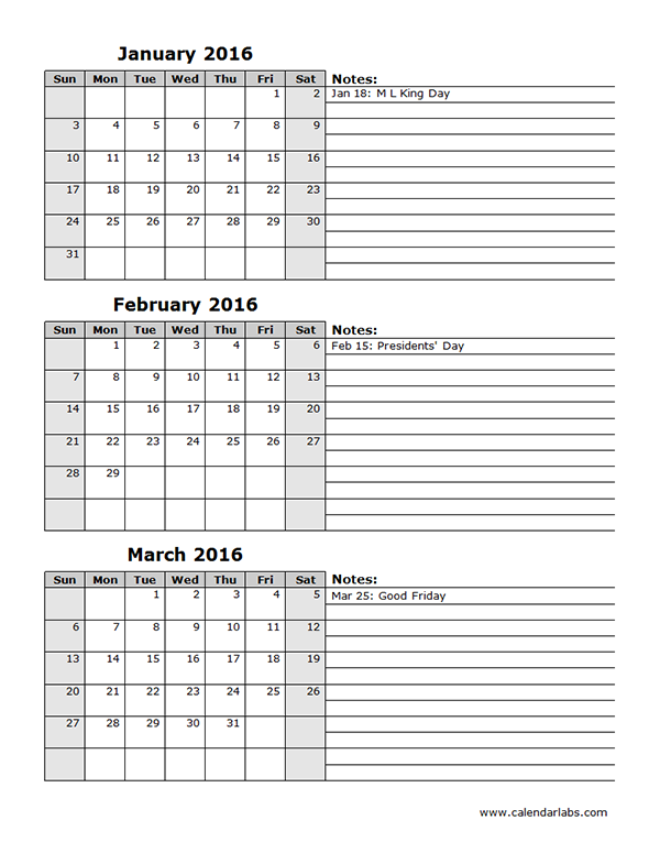 2016 Three Month Calendar Template 12L Free Printable Templates