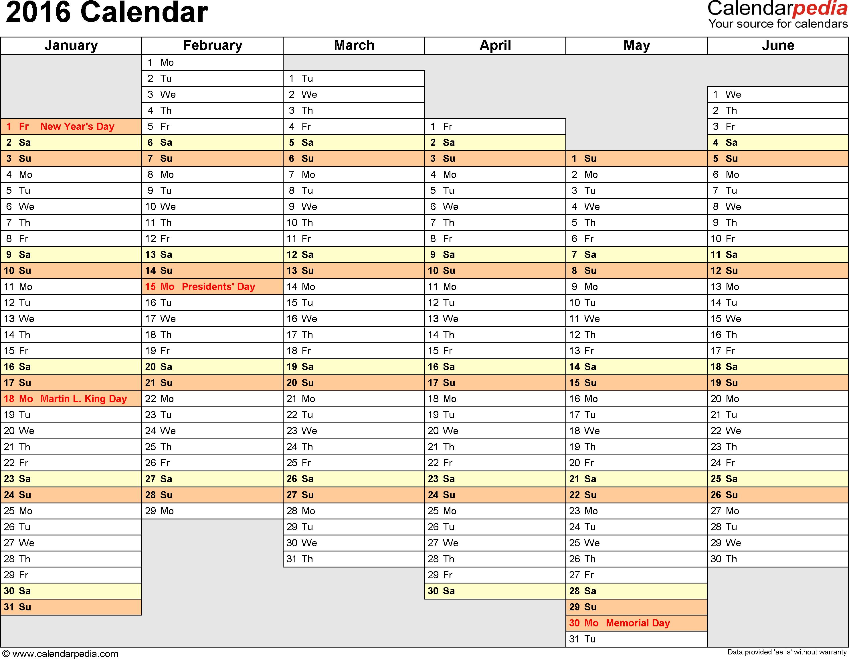 2016 Calendar 16 Free Printable Word Calendar Templates