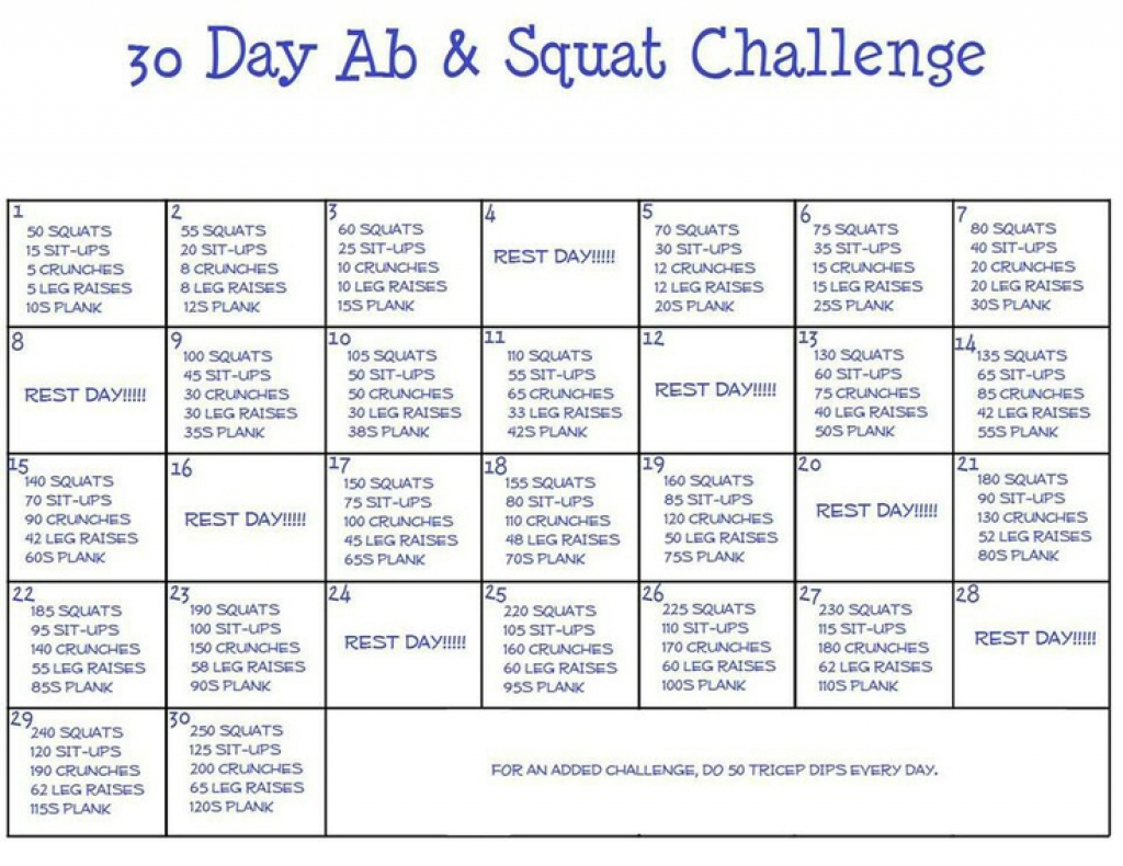 30 day squat challenge printable calendar | Printable Online Calendar