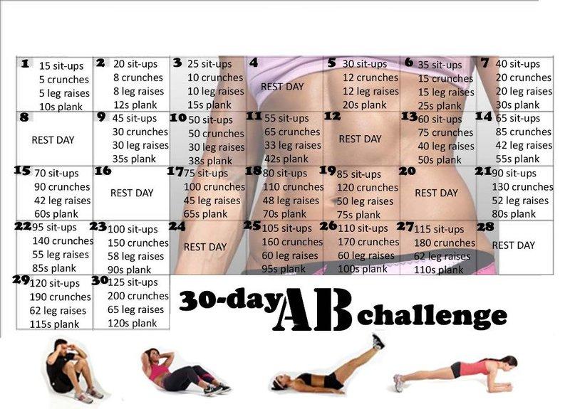 Free 30 Day Ab / Abdominal Challenge Workout Routine Calendar
