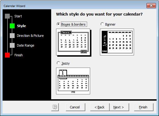 Calendar Design Wizard : Annual calendar wizard template