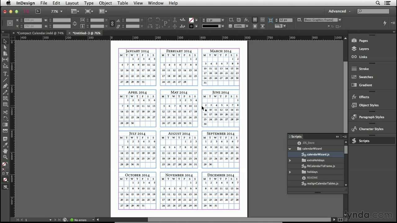 Calendar design tutorial: Making the calendar tables | lynda.
