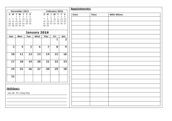 printable appointment calendar