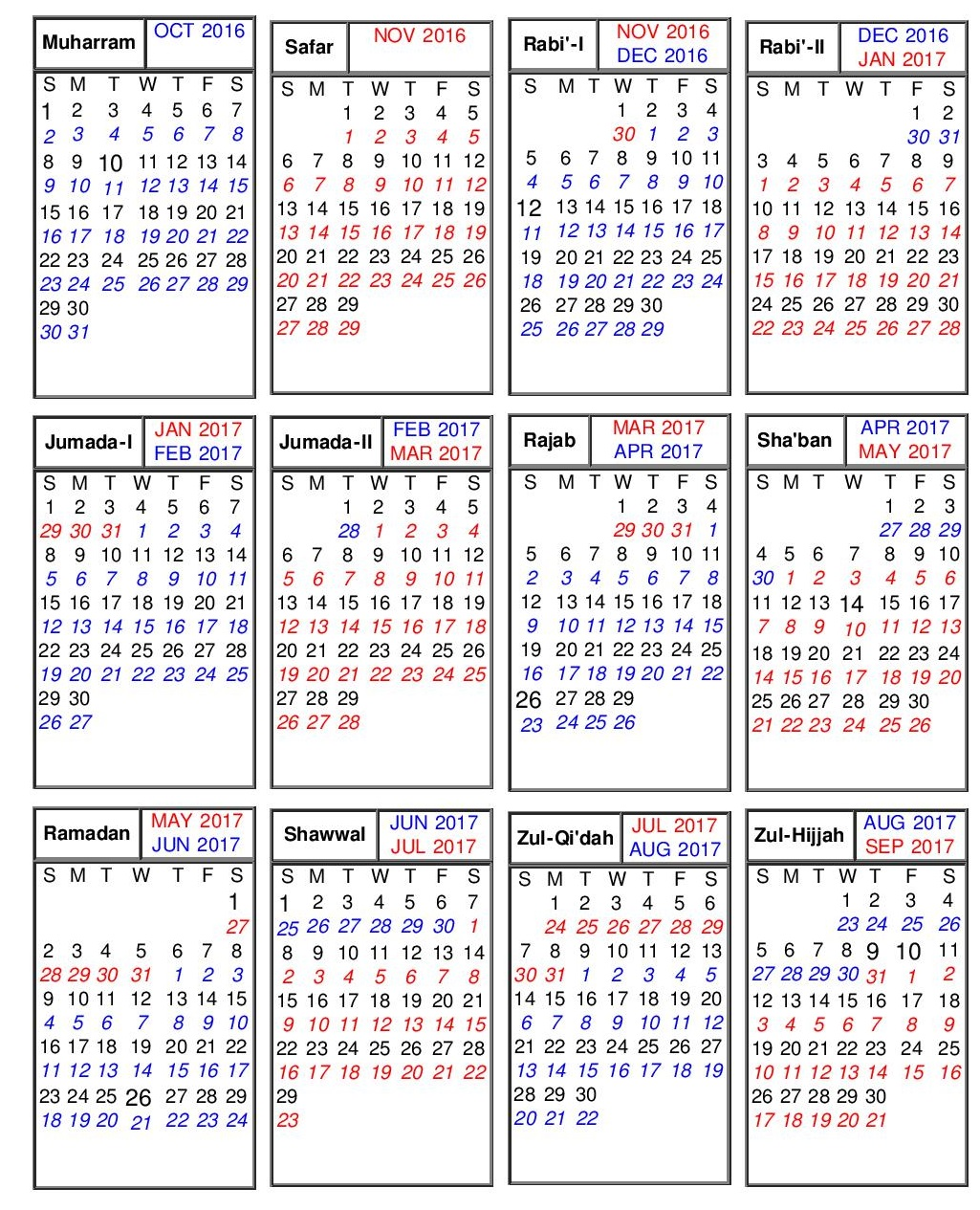 Islamic Calendar 2017  Hijri Calendar 1438   Free 2017 Calendar