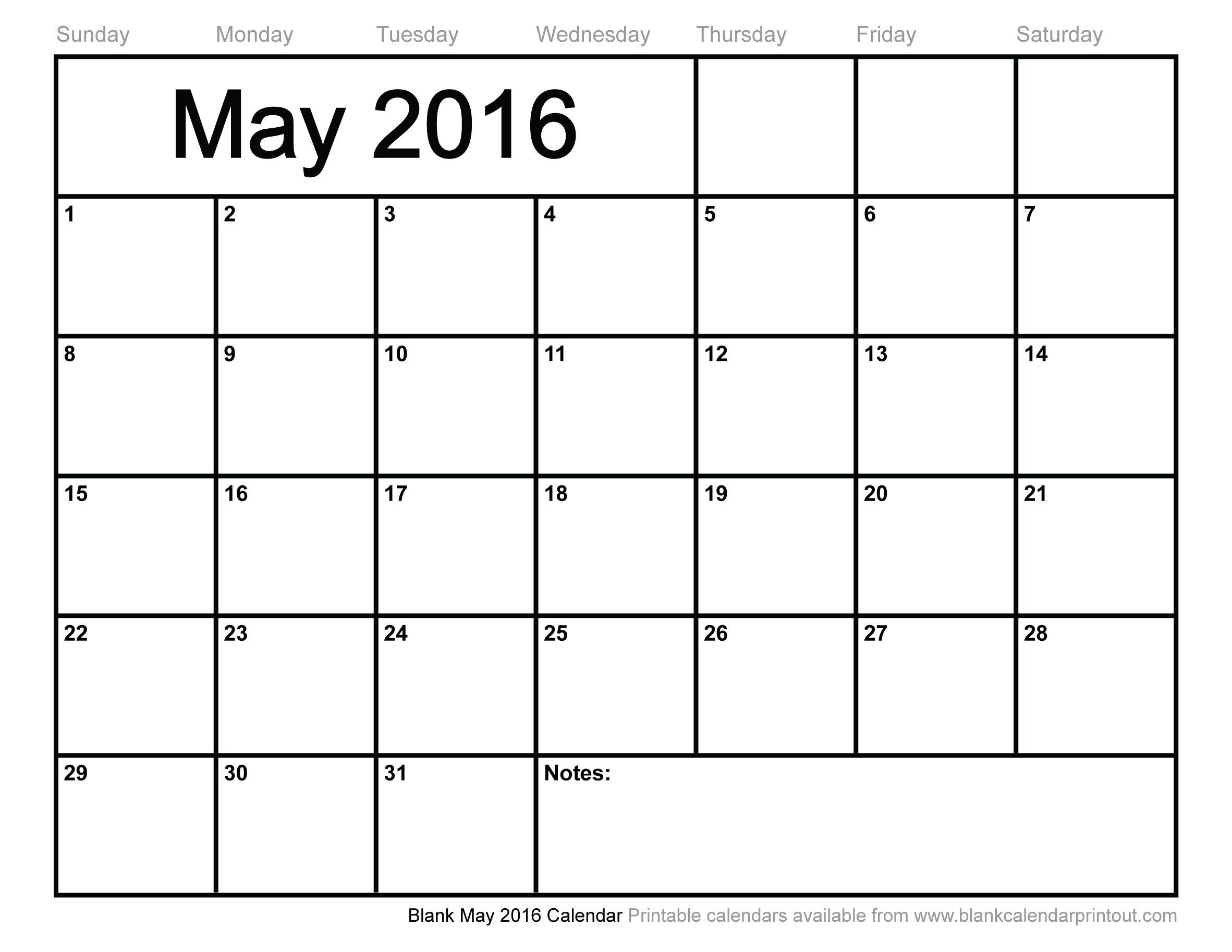 Blank May 2016 Calendar to Print