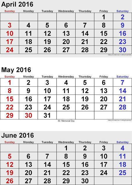 and June 2016 Canadian Calendar