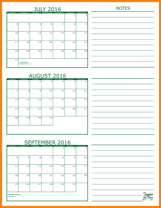 Calendar June July August | Calendar Template 2017