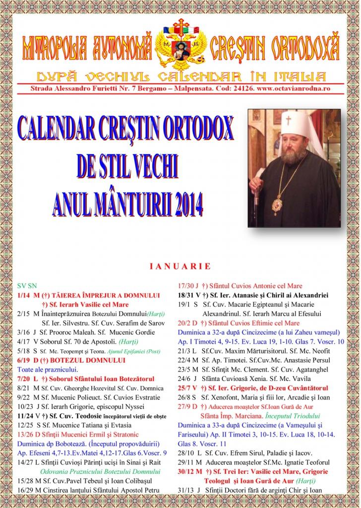 Calendar Ortodox Rit Vechi 2016 | Calendar Printable 2017