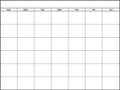 Large Blank Calendar Template – Printable Editable Blank Calendar 2017