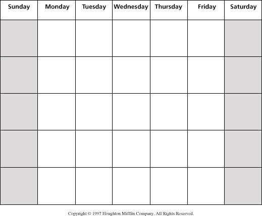 Large Blank Calendar Template Vosvete.net