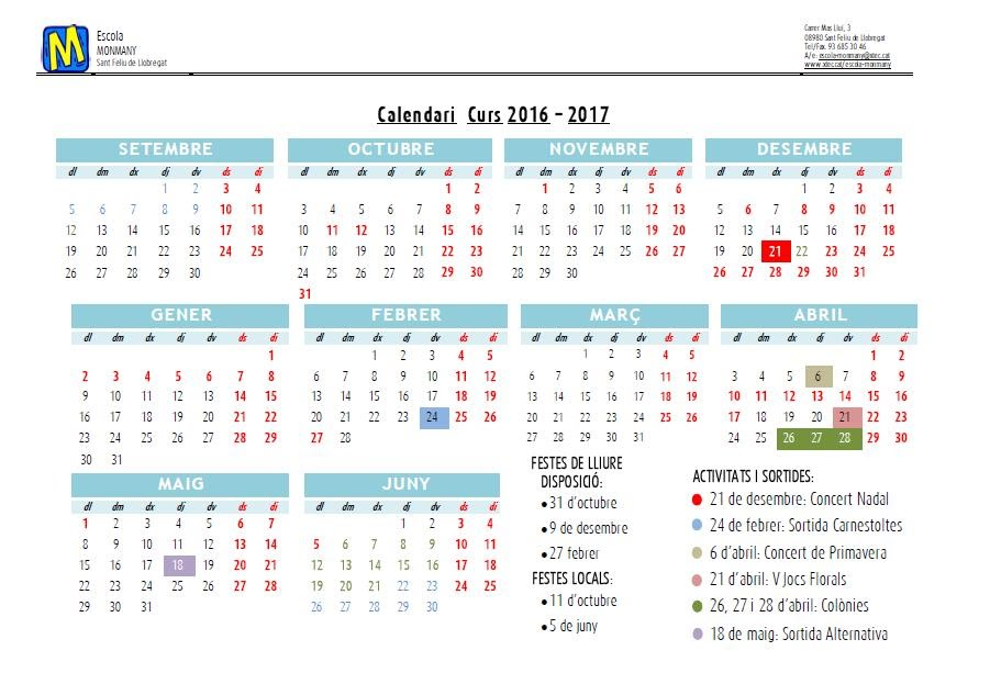 Calendari curs 2016 2017 Escola Josep Monmany