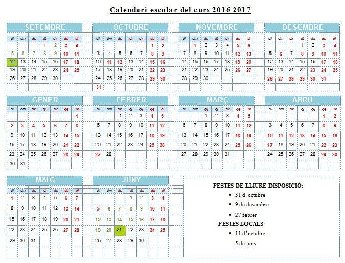 CALENDARI ESC. 2016 2017   Escola Pau Vila