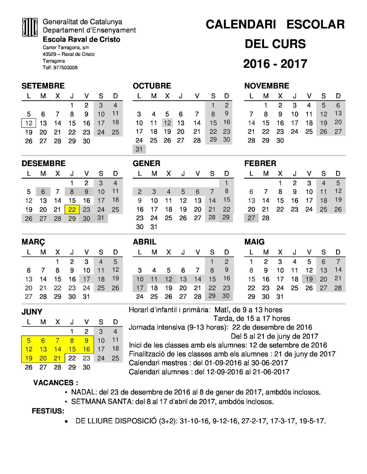 Escola Raval de Cristo: CALENDARI CURS 2016/2017