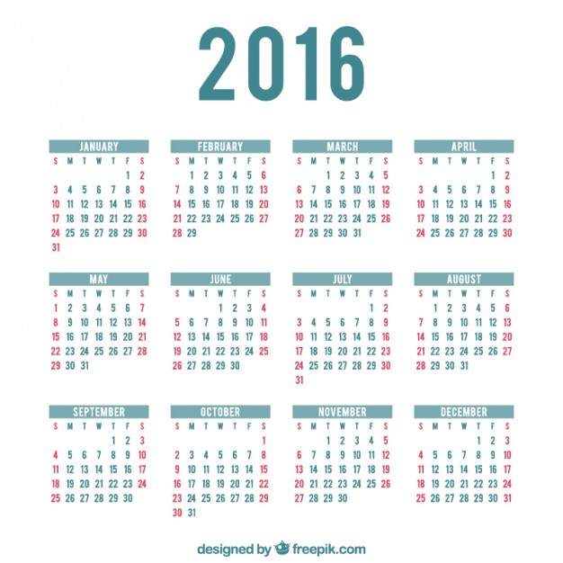 2016 calendar template Vector | Free Download