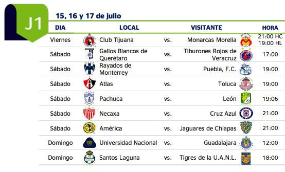 Calendario de la liga mx 2016 calendar template 2018 for Horario apertura oficinas la caixa