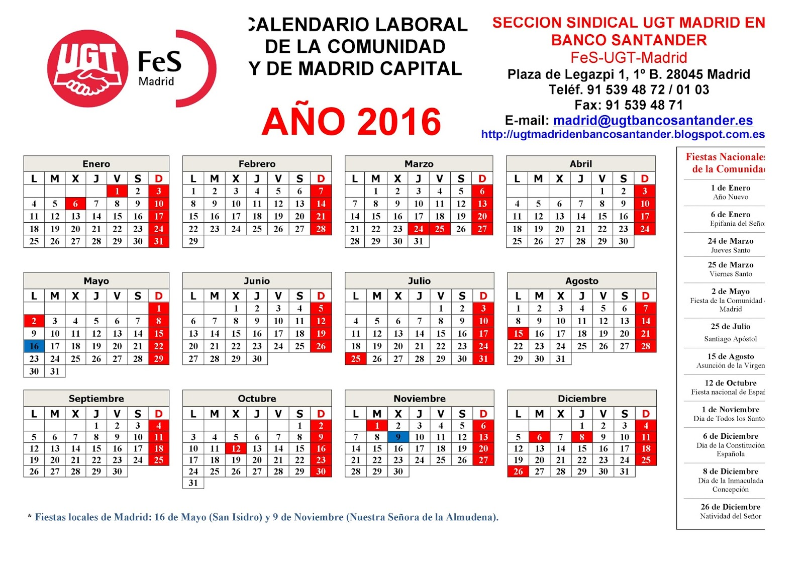 Calendario laboral provisional para 2016: Año de puentes