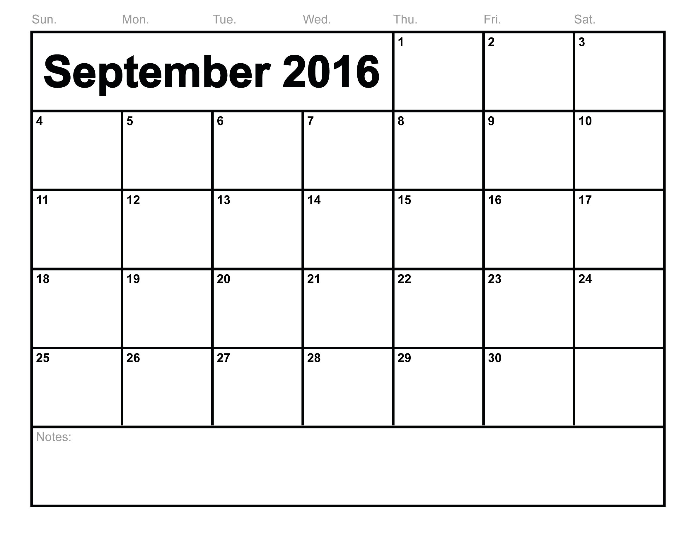 September 2017 Printable calendar | Blank Templates | Printable