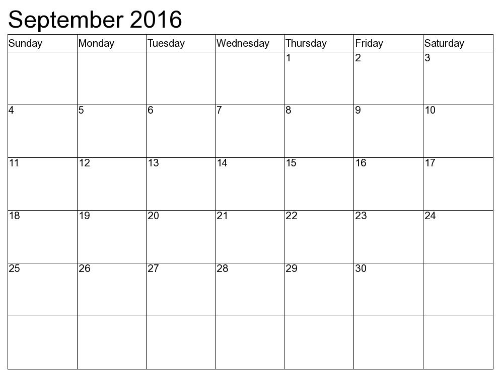 September 2016 calendar | September 2016 calendar printable