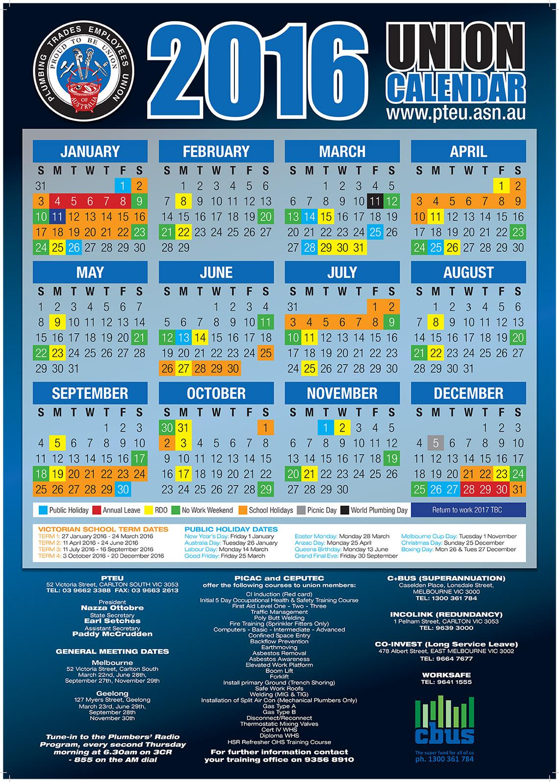 cfmeu calendar 2016