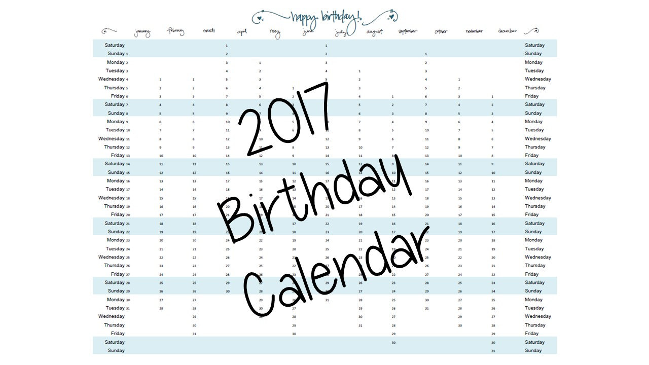 Computer Fillable Birthday Calendar | Calendar Template 2017