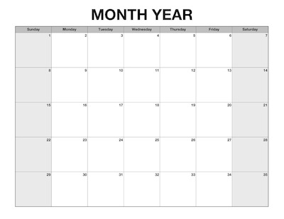 customizable calendar template calendar template 2018. Black Bedroom Furniture Sets. Home Design Ideas
