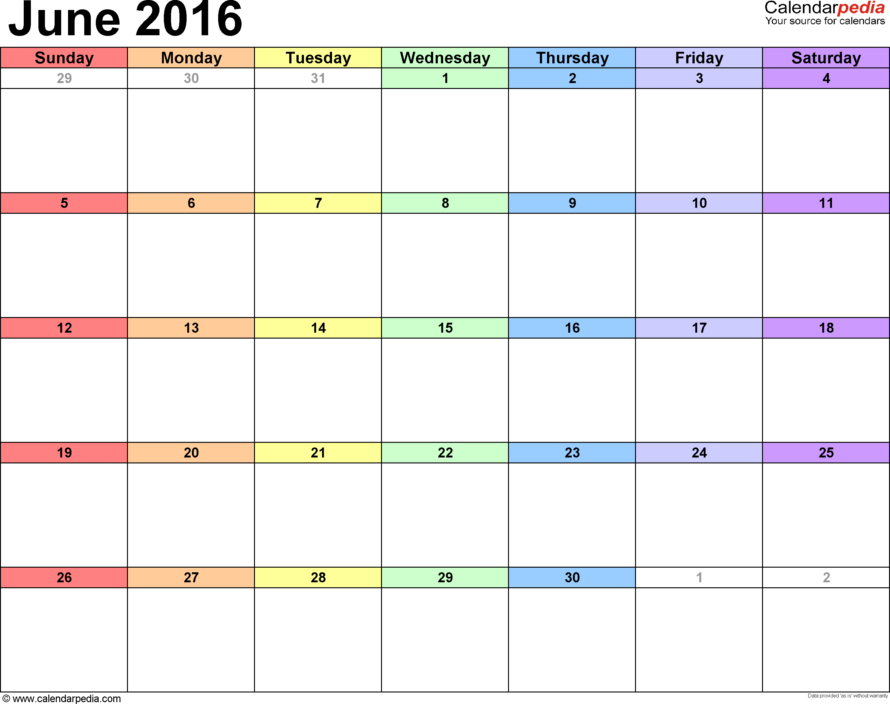 Blank Calendar Of June : Easy fill in calendar june template
