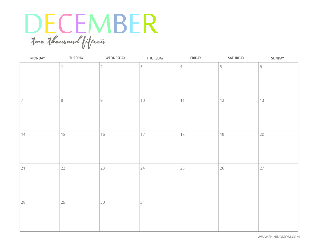 The Printable 2015 Monthly Calendar by ShiningMom.is Here!