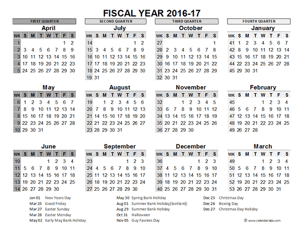 2016 Fiscal Year Calendar UK 02 Free Printable Templates