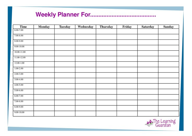 Weekly Calendar Template Monday Friday – Printable Blank 2017