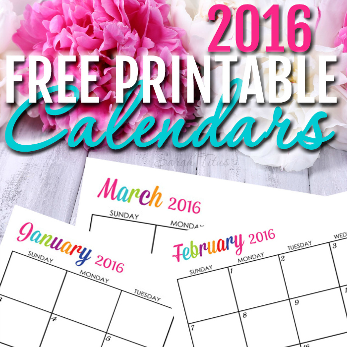 Free 2016 Printable Calendars Completely editable online!!! Use