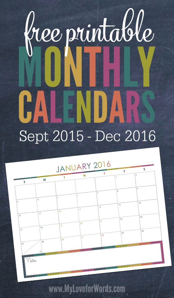 Free Printable 2016 Monthly Calendars