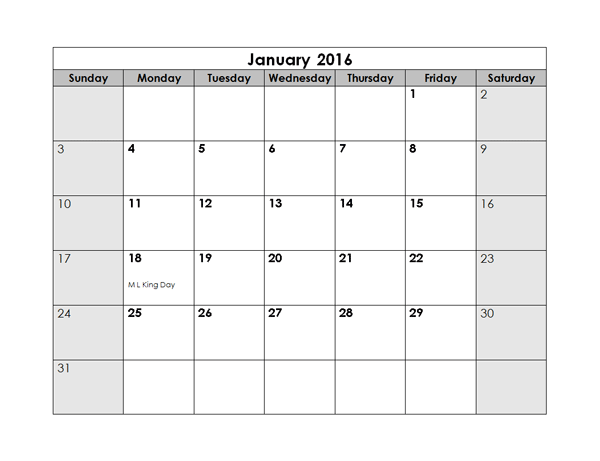 2016 Monthly Calendar Free Printable Templates