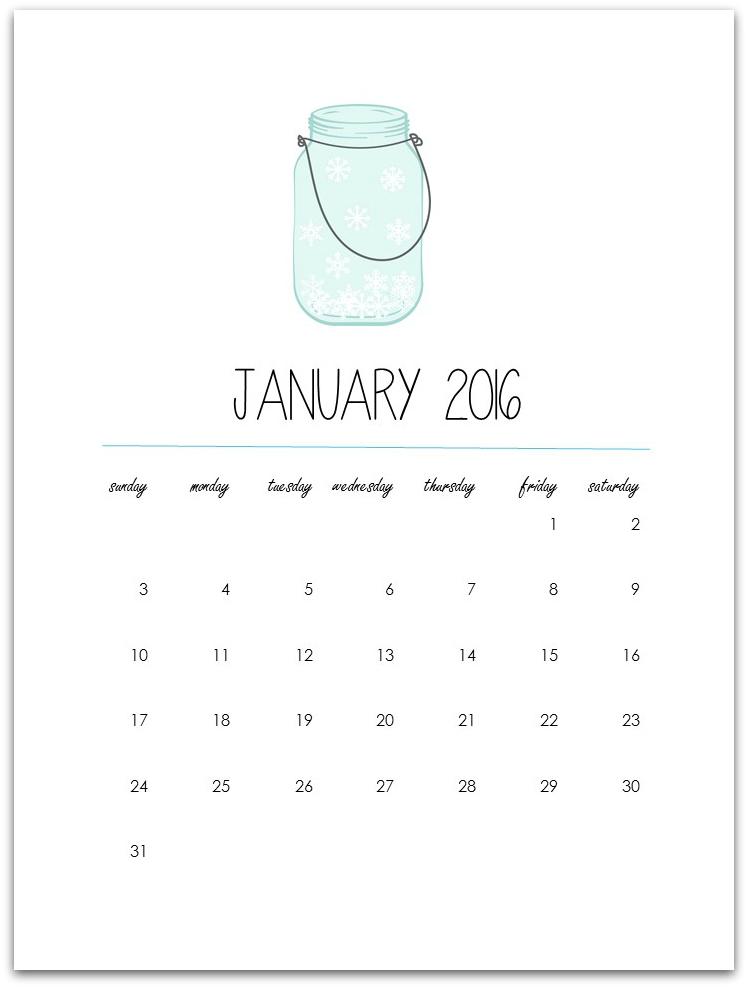 Printable 2016 Calendar (12 pages)