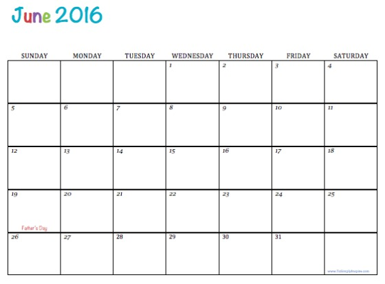 2016 June Calendar Free Printable With Templates