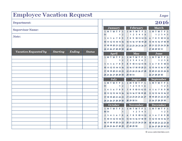 2016 Business Employee Vacation Request Free Printable Templates