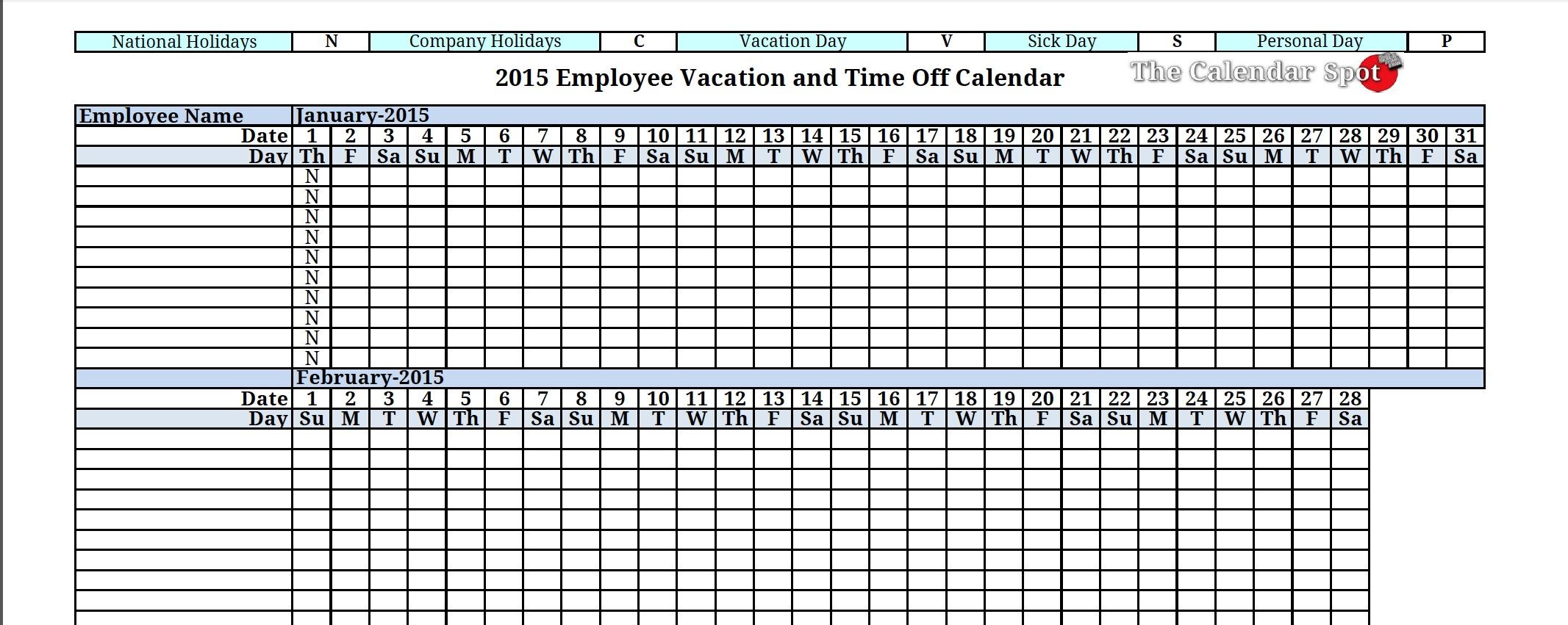 Free Vacation Calendar For Employees Calendar Template 2018