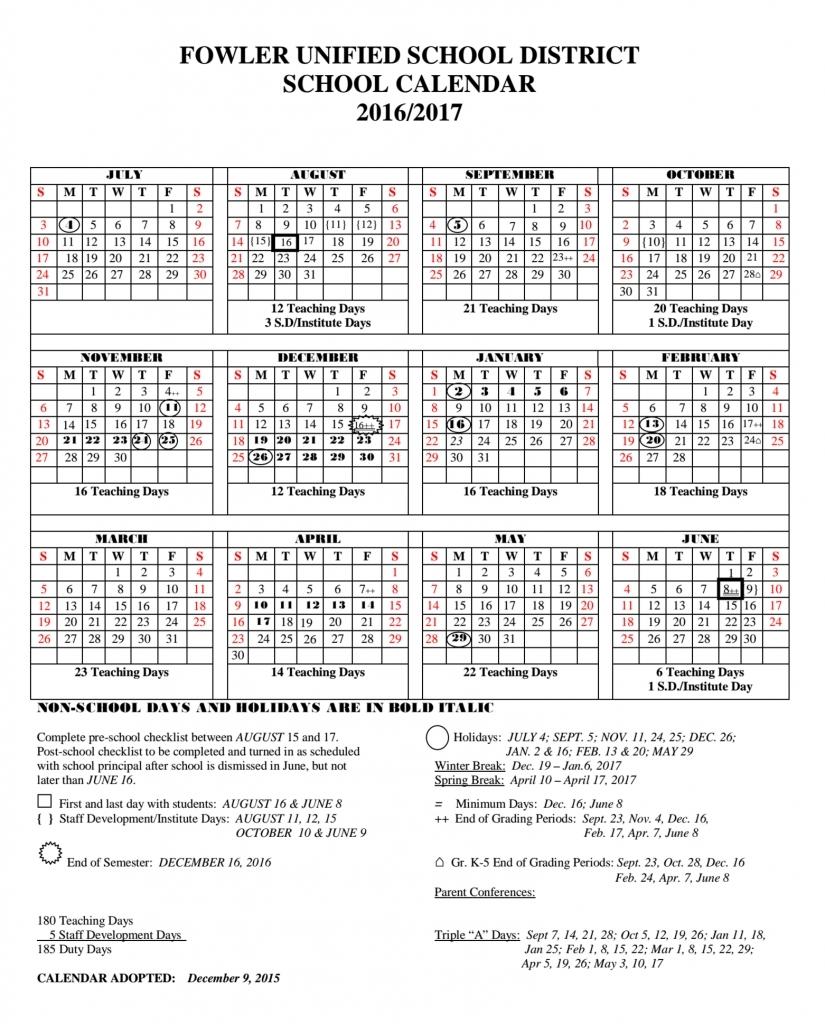 Fusd Calendar 2017 2017 – Blank Calendar 2017