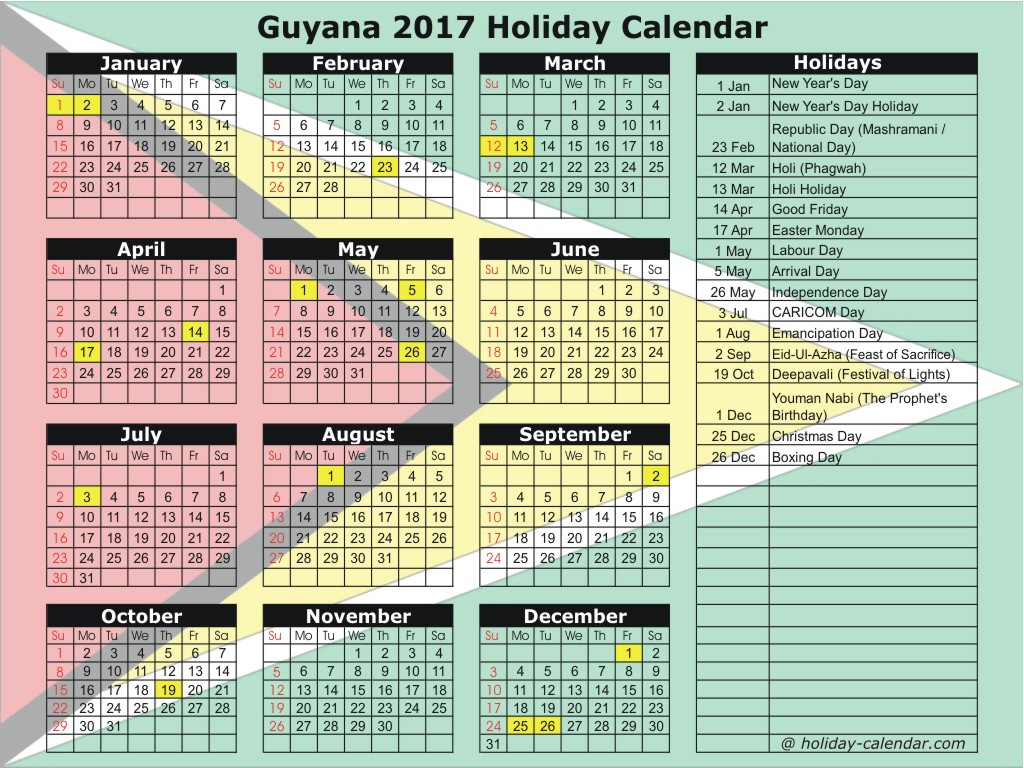 Guyana 2017 / 2018 Holiday Calendar