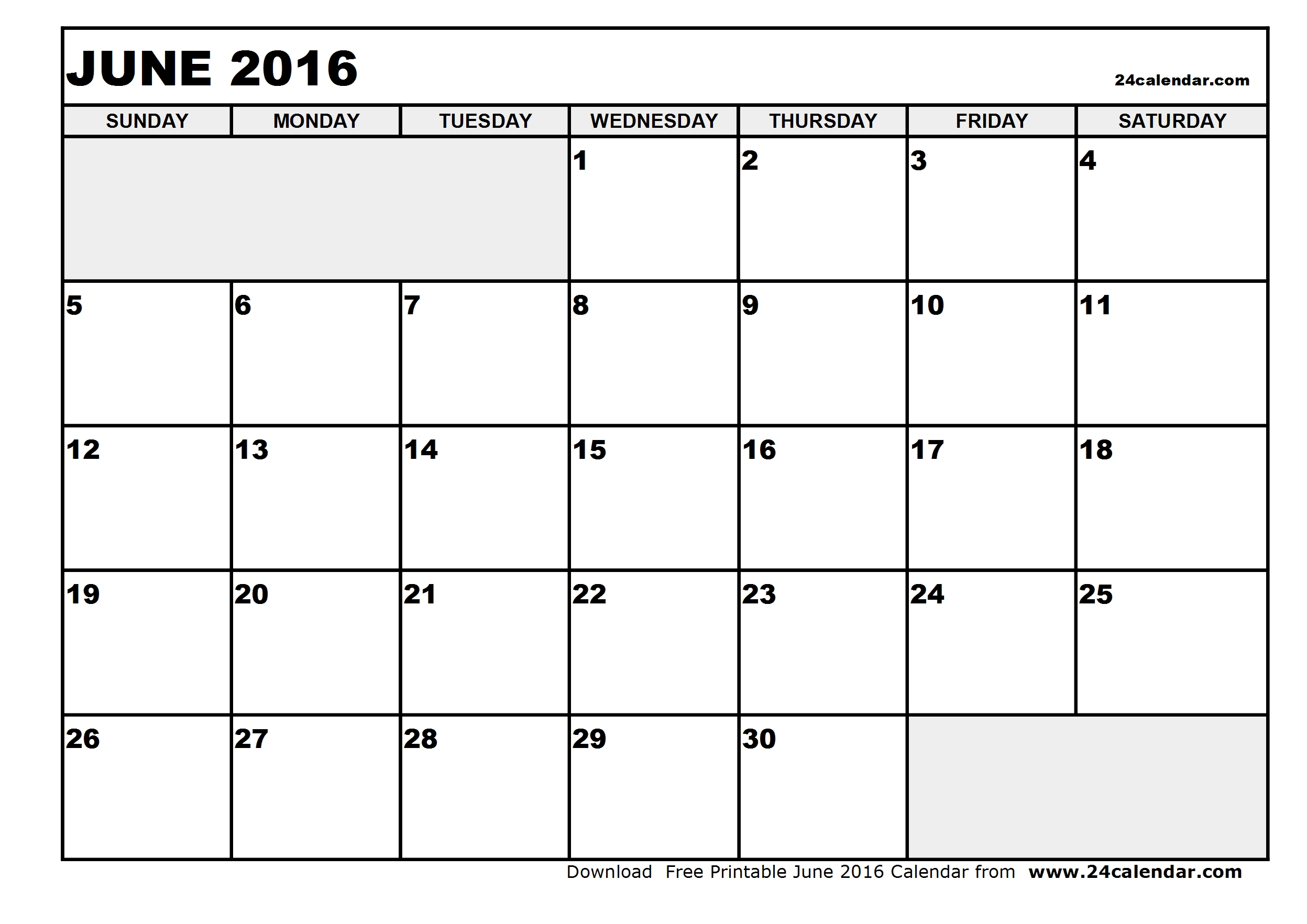 June Calendar Printable 2016 Calendar Template 2017