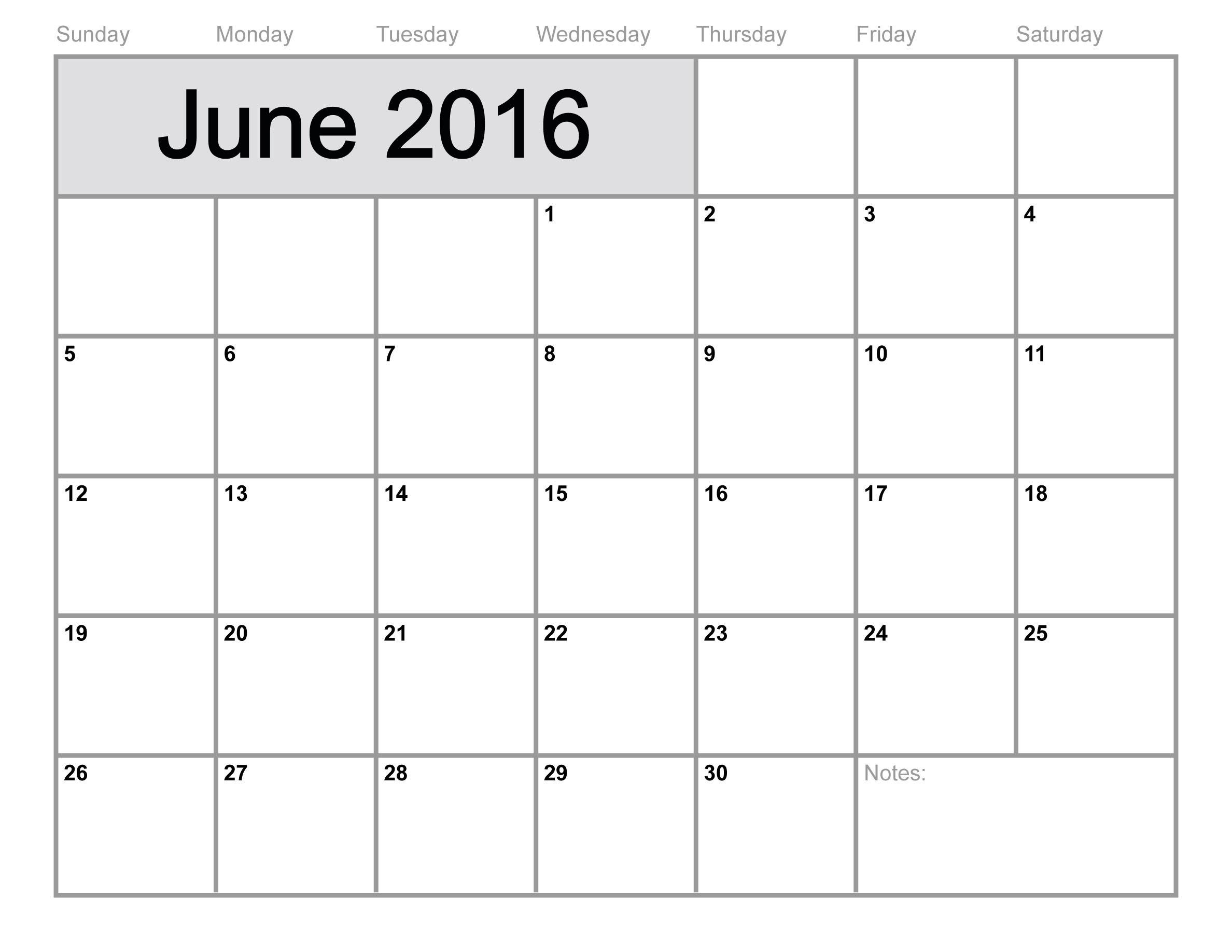 June Calendar 2016 Printable