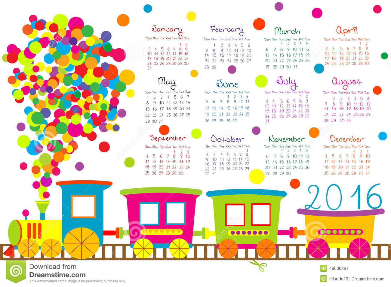 2016 Calendar With Cartoon Train For Kids Stock Vector Image