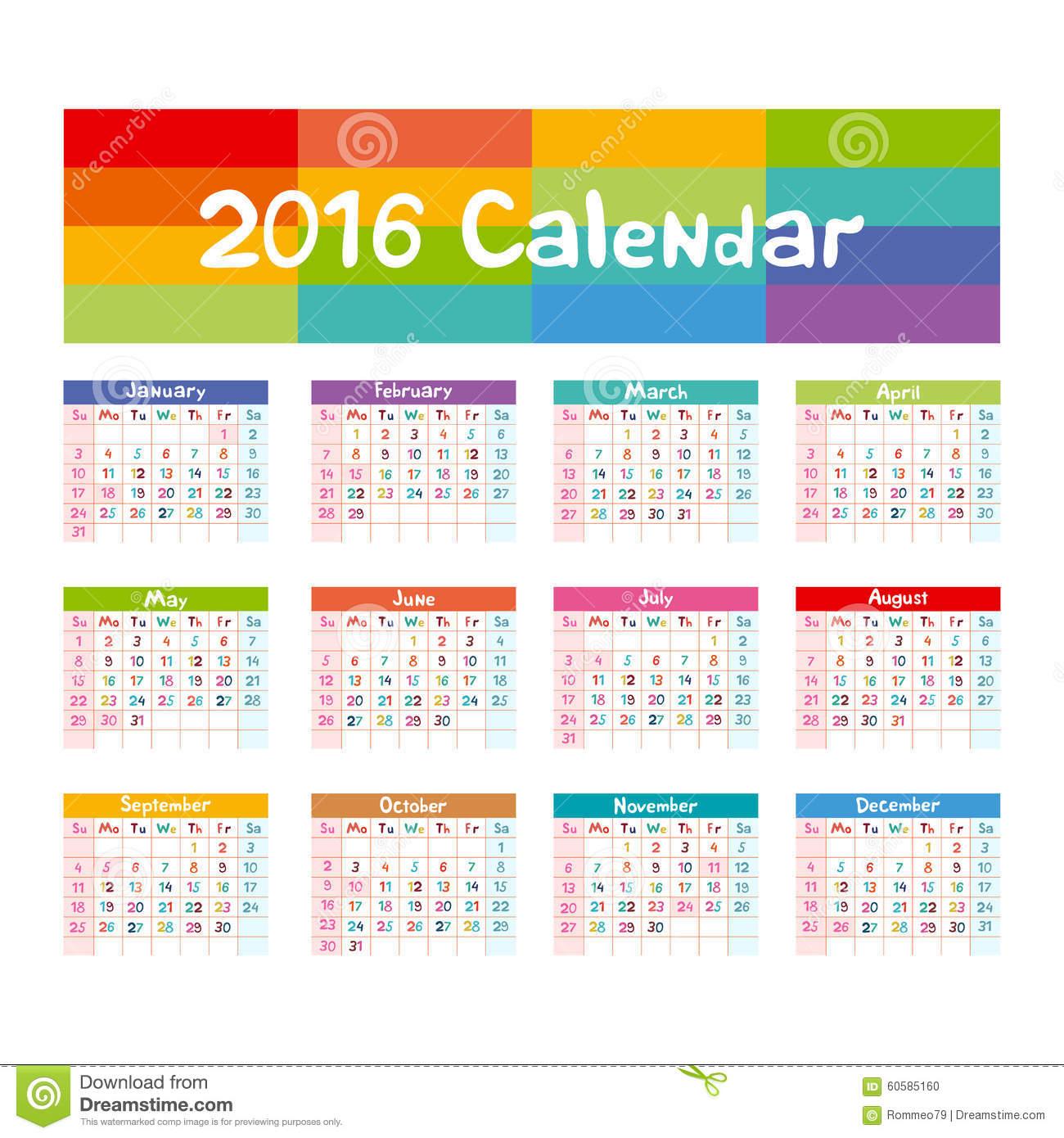 Illustration Calendar For 2016 In Kids Design Stock Illustration