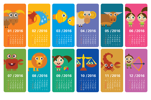 Cartoon kids with animal banner Calendar 2016 vector WeLoveSoLo