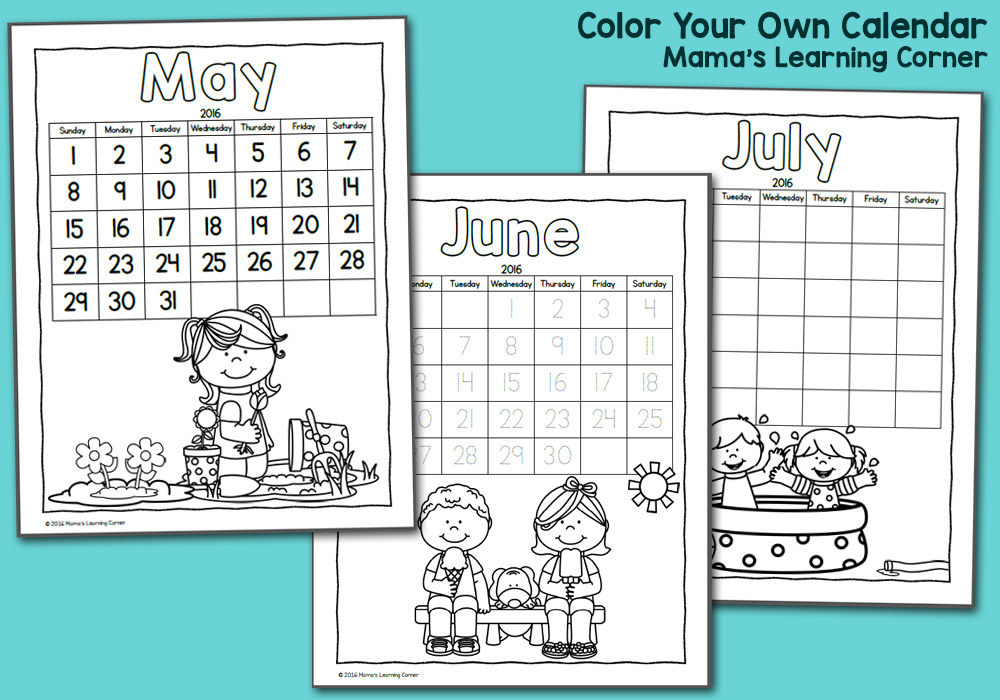 Color Fun! Printable Calendar for Kids 2016 Mamas Learning Corner