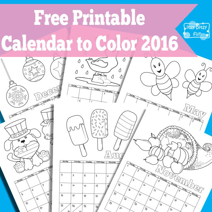 Printable Calendar for Kids 2017 | Coloring, For kids and Calendar