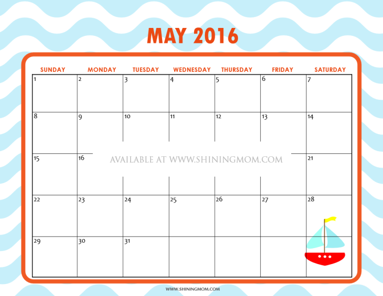 Monthly Calendar 2015 Printable Page 2 My Calendar Template .May
